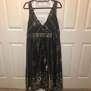 Sexy silky gold and black detail dress